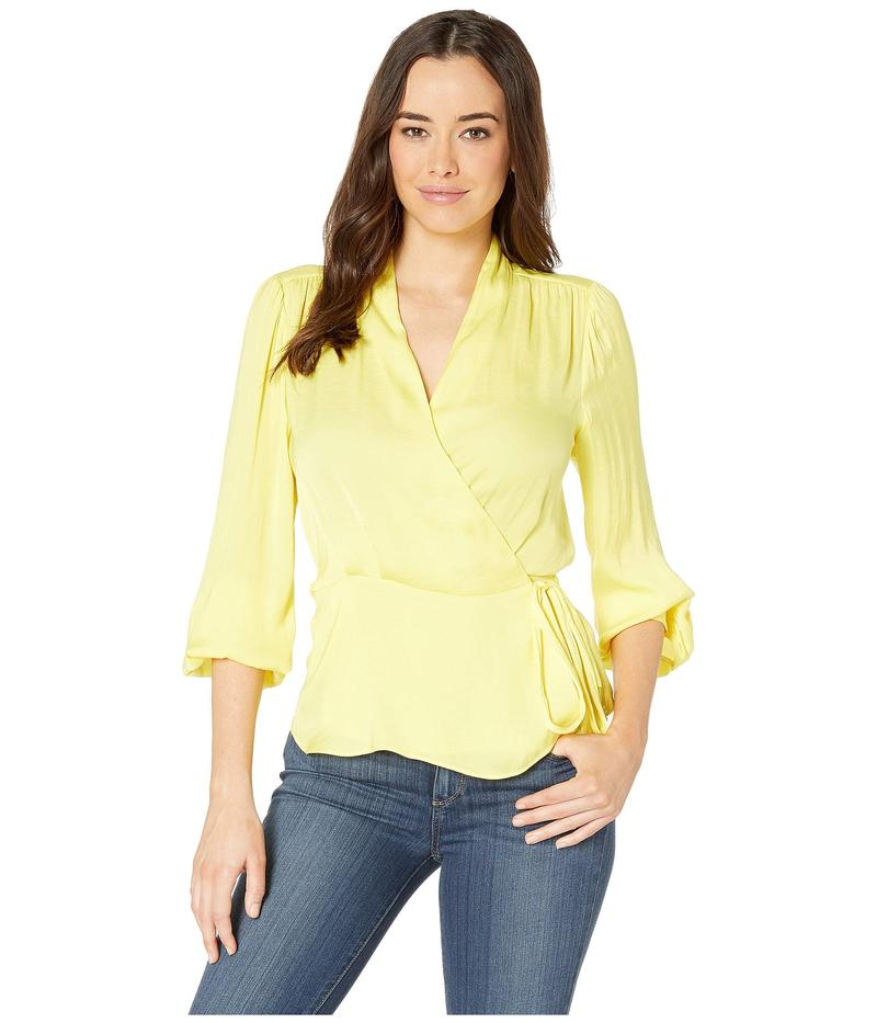 ヴィンスカムート レディース シャツ トップス Long Sleeve Peplum Hem Wrap Front Rumple Blouse Blazing Yellow