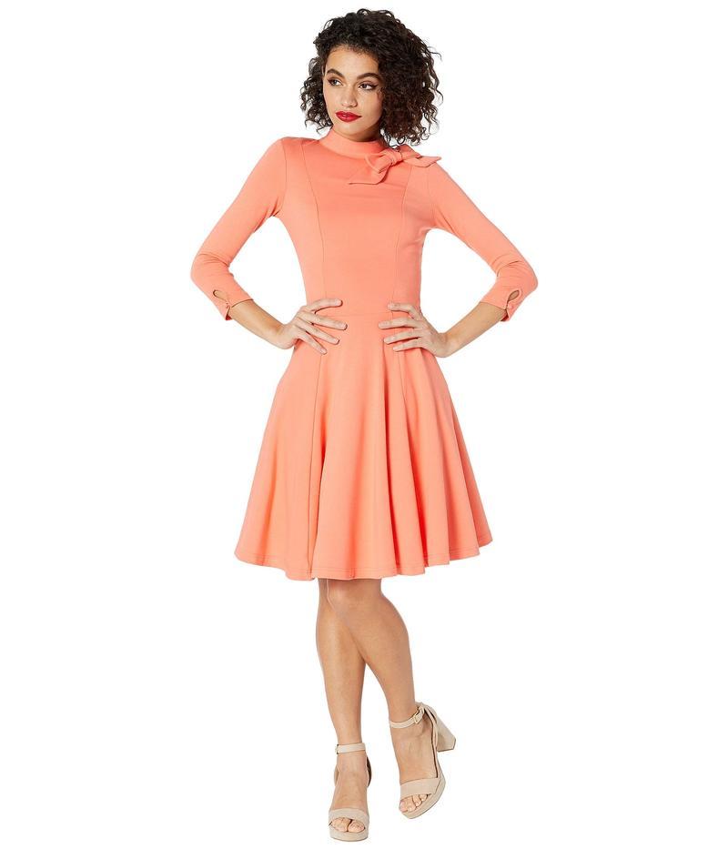 ユニークビンテージ レディース ワンピース トップス Pantone x Unique Vintage Bow Neck Knit Dress Coral