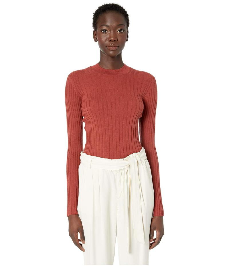 ヴィンス レディース ニット・セーター アウター Mixed Rib Long Sleeve Sweater Redwood