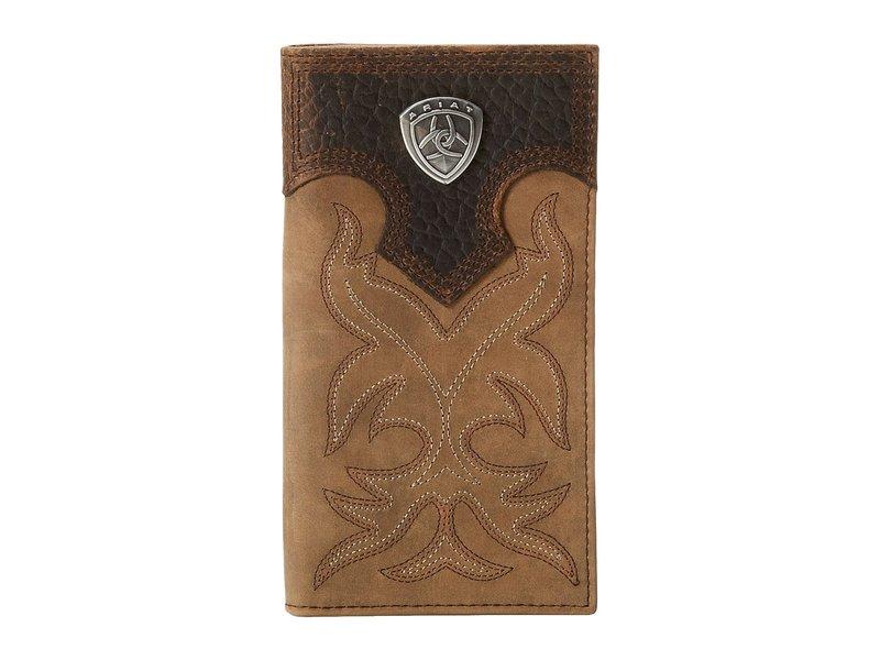 アリアト メンズ 財布 アクセサリー Ariat Shield Boot Stitch Rodeo Wallet Medium Distressed Brown