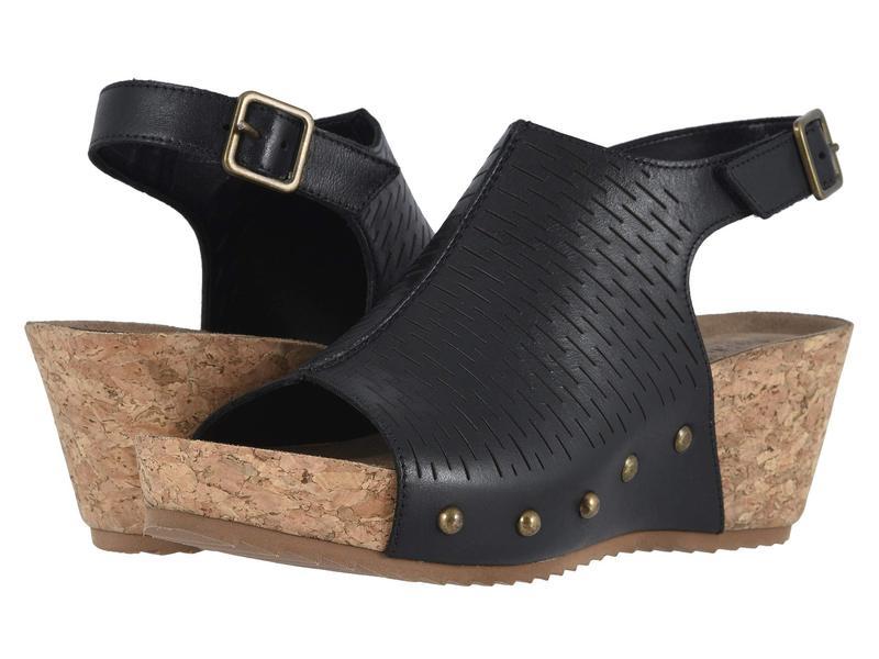 ウォーキング クレイドル レディース ヒール シューズ Taminee Black Accordion Perforated Leather