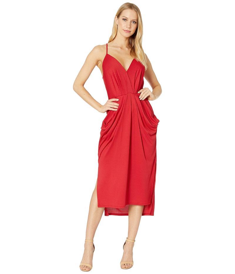 BCBジェネレーション レディース ワンピース トップス Cocktail Drapey Pocket Knit Dress American Red