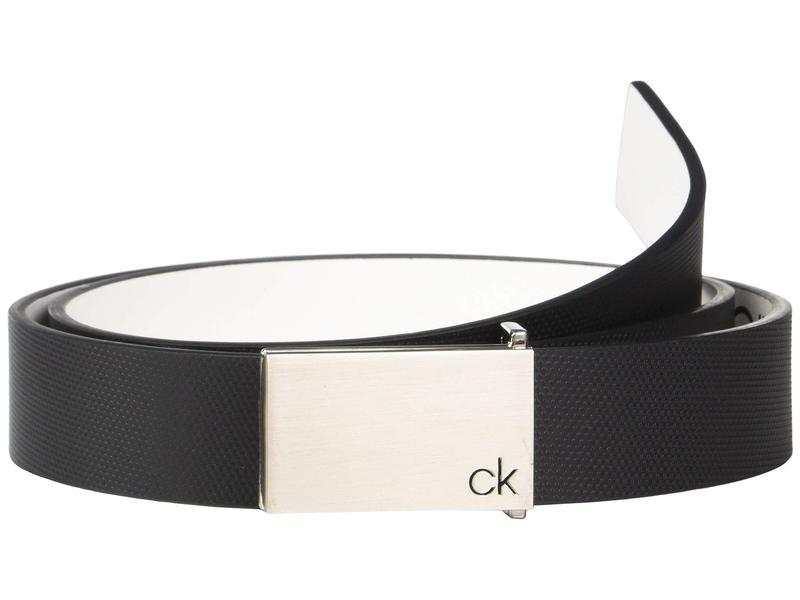 カルバンクライン メンズ ベルト アクセサリー 30mm Textured Leather Belt Black