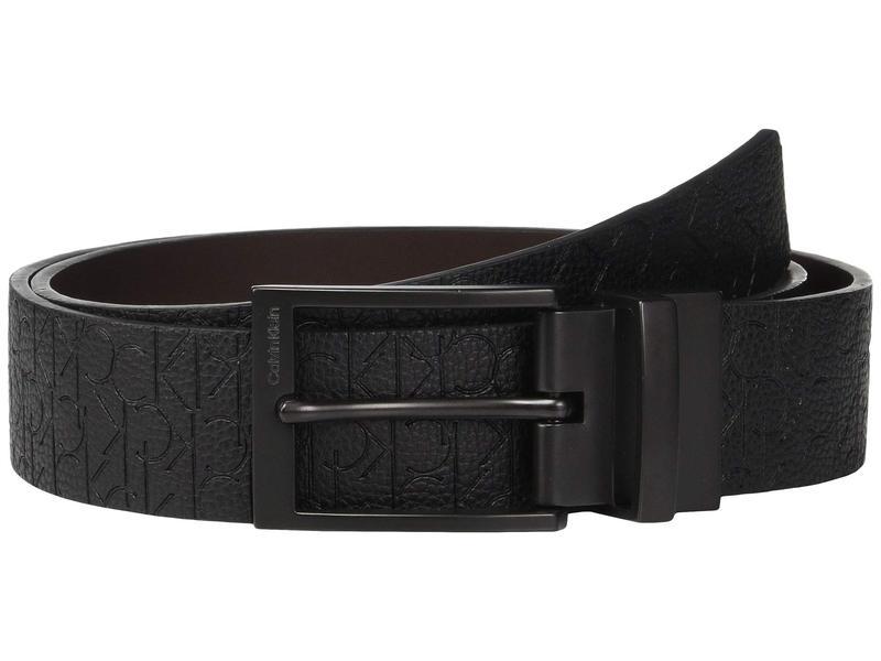 カルバンクライン メンズ ベルト アクセサリー 35mm Reversible Embossed Logo Belt Black/Dark Brown
