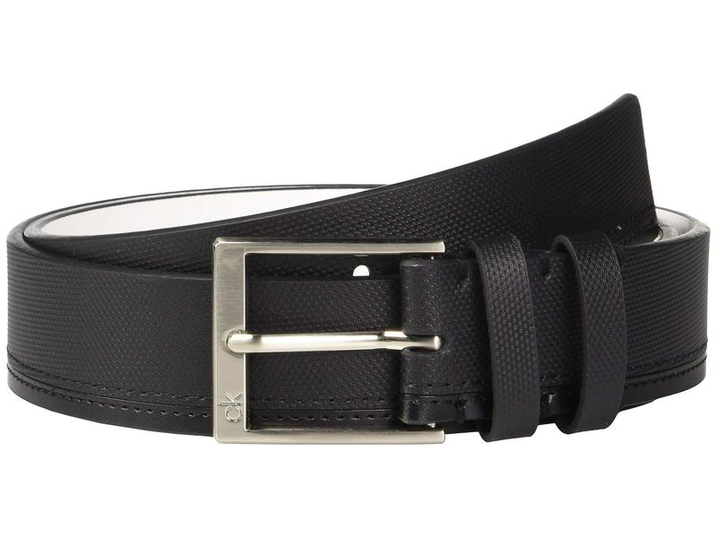 カルバンクライン メンズ ベルト アクセサリー 35mm Pieced Strap Leather Belt Black