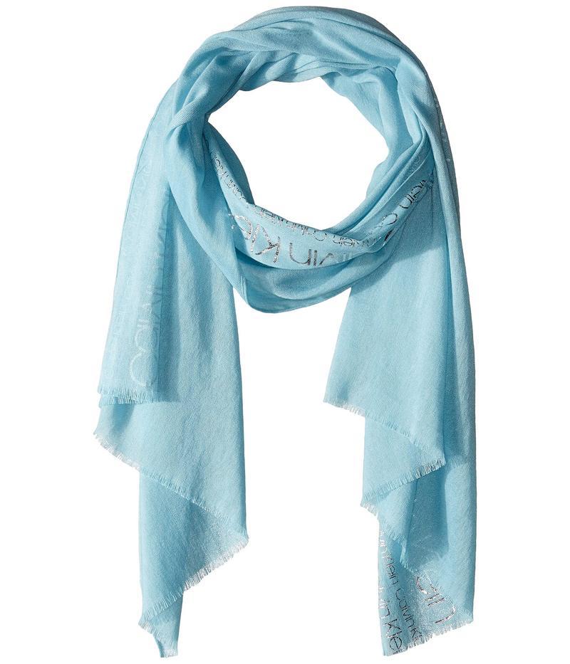 カルバンクライン レディース マフラー・ストール・スカーフ アクセサリー Foil Print Logo Scarf Pastel Blue