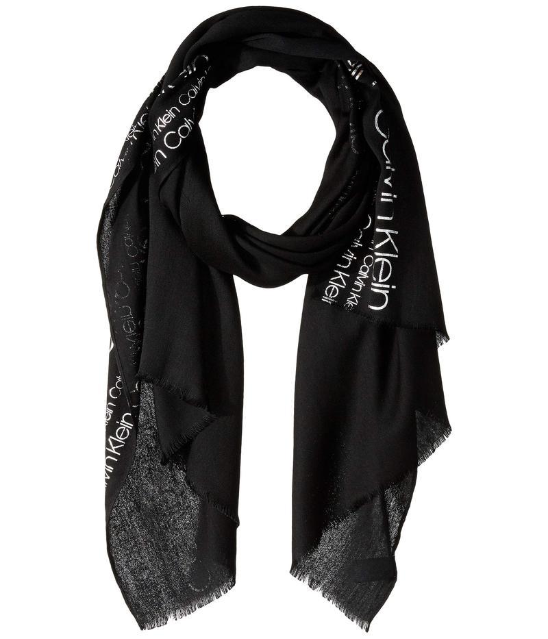 カルバンクライン レディース マフラー・ストール・スカーフ アクセサリー Foil Print Logo Scarf Black