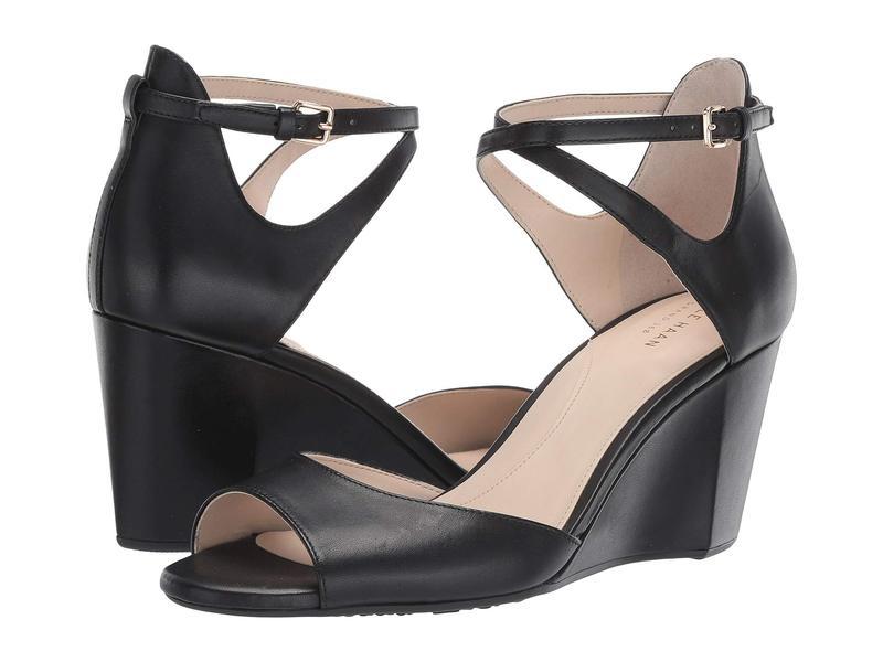コールハーン レディース ヒール シューズ 75 mm Sadie Grand Open Toe Wedge Sandal Black Leather