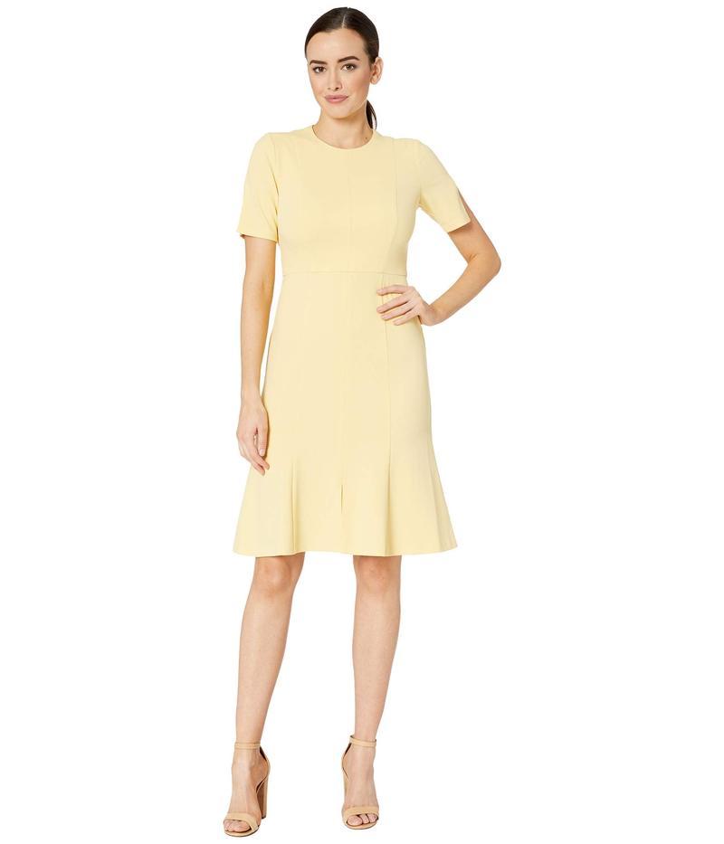 ドナモーガン レディース ワンピース トップス Crepe Short Split Sleeve Fit and Flare Dress Daffodil