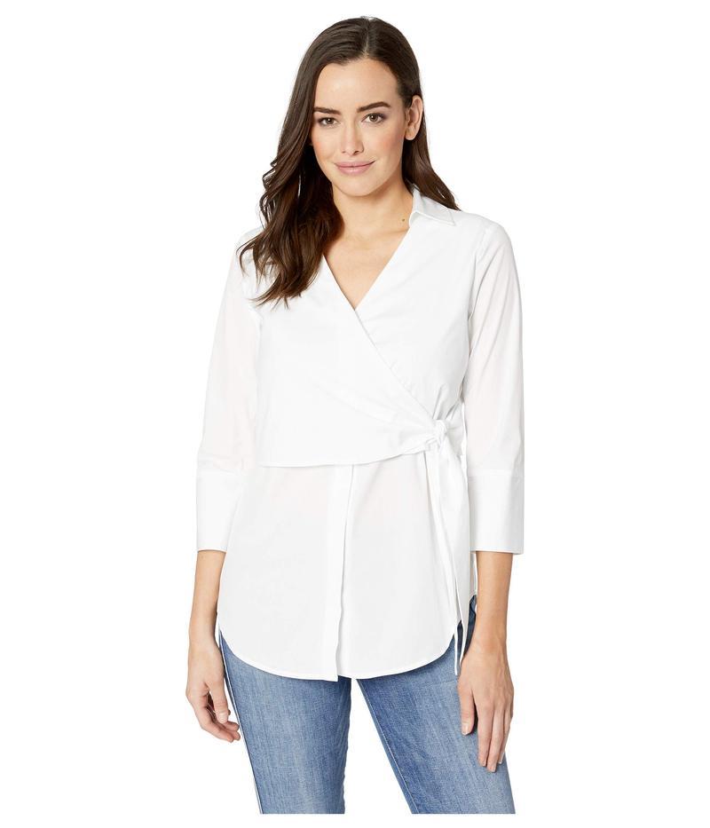 エリオットローレン レディース シャツ トップス White on White Tie Front Wrap Shirt White