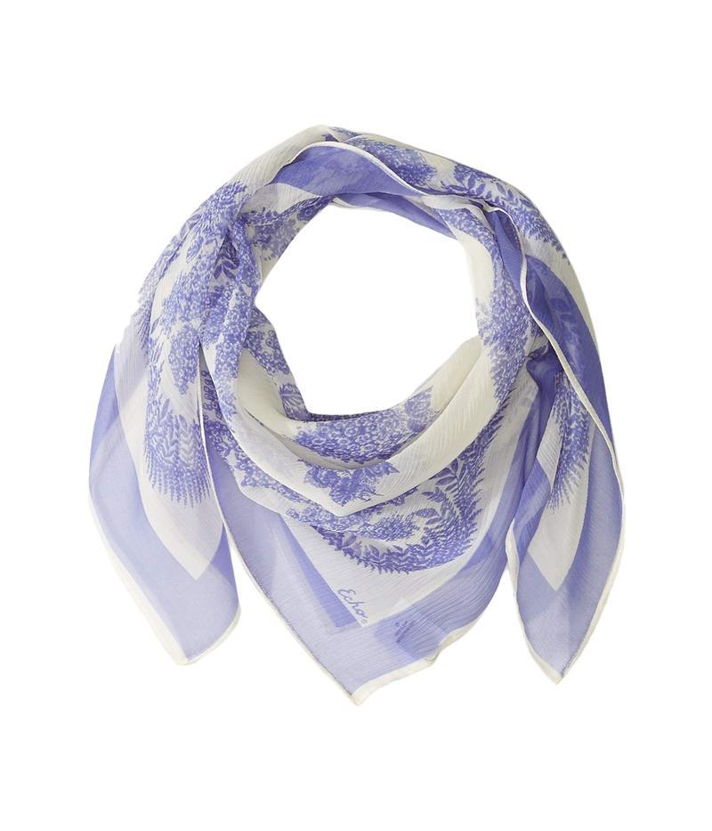 エコーデザイン レディース マフラー・ストール・スカーフ アクセサリー Floral Bicolor Silk Square Scarf Iris
