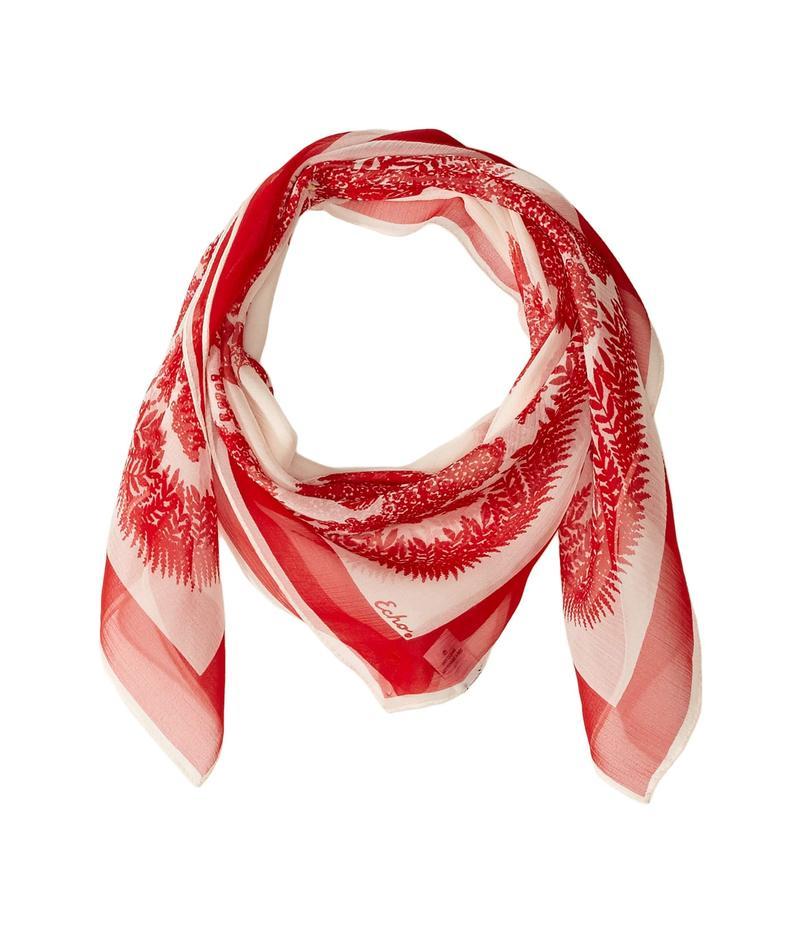 エコーデザイン レディース マフラー・ストール・スカーフ アクセサリー Floral Bicolor Silk Square Scarf Resort Red