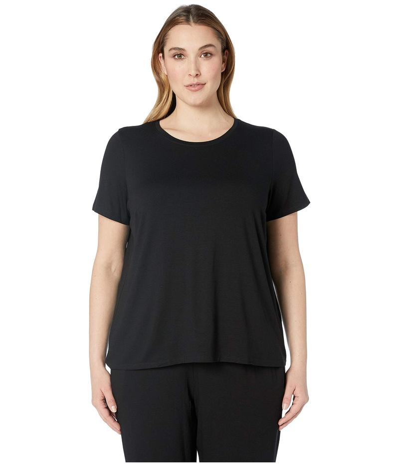 エイリーンフィッシャー レディース シャツ トップス Plus Size Lightweight Viscose Jersey Round Neck Cap Sleeve Tee Black