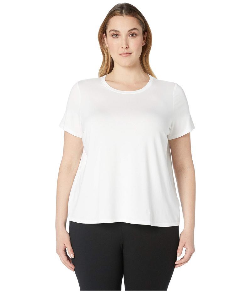 エイリーンフィッシャー レディース シャツ トップス Plus Size Lightweight Viscose Jersey Round Neck Cap Sleeve Tee White