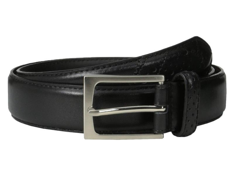 フローシャイム メンズ ベルト アクセサリー Full Grain Leather Belt with Wing Tip Style Tail 32mm Black