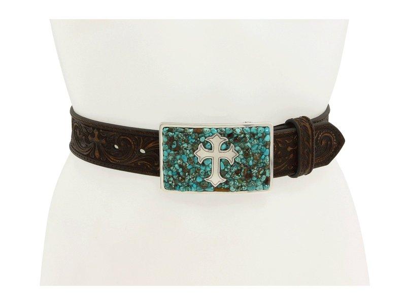 エムエフウエスターン レディース ベルト アクセサリー Turquoise Stone Cross Turquoise/Brown