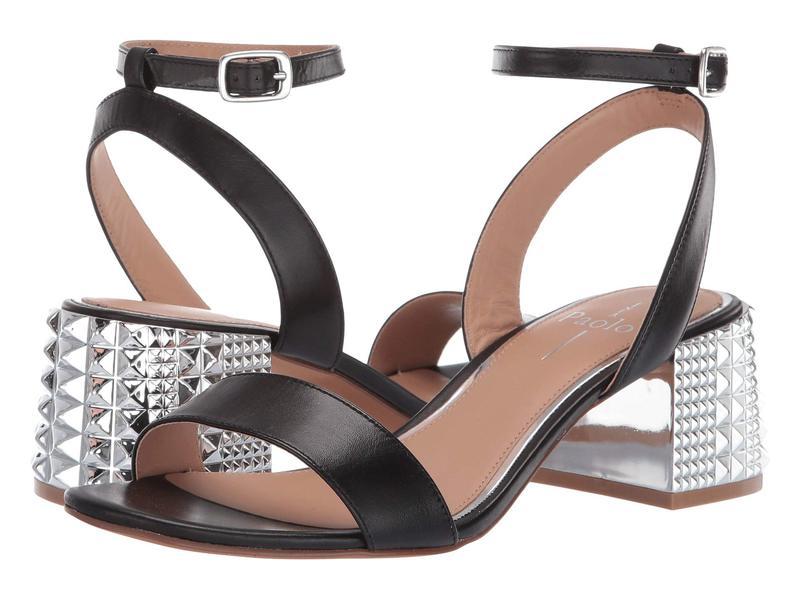 リネアパウロ レディース ヒール シューズ Hilda Studded Heel Sandal Black Leather