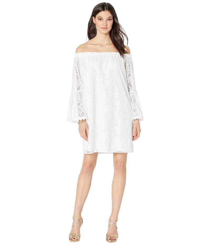 リリーピュリッツァー レディース ワンピース トップス Nevie Dress Resort White Swirling Leaf Lilly Lace
