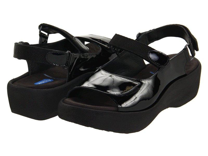 ウォルキー レディース サンダル シューズ Jewel Black Patent Leather