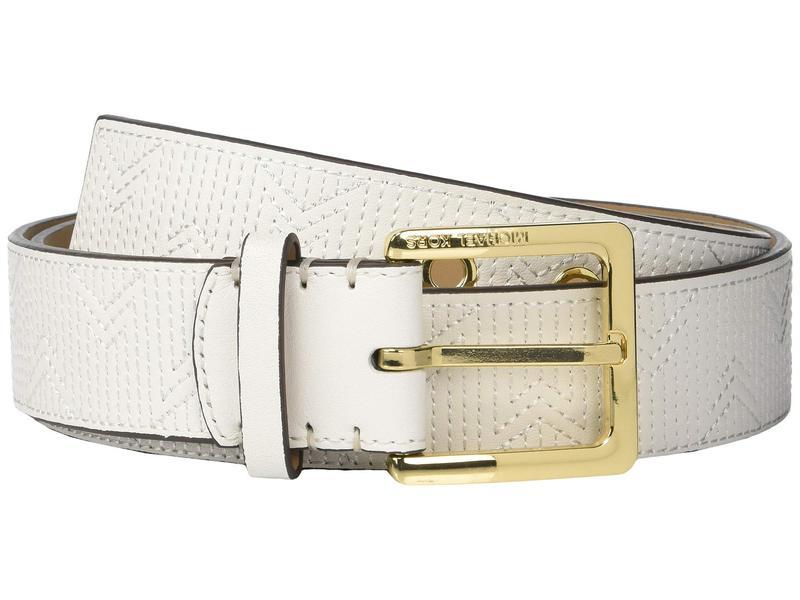 マイケルコース レディース ベルト アクセサリー 38 mm (1.5???) Deco M Quilt Belt Optic White