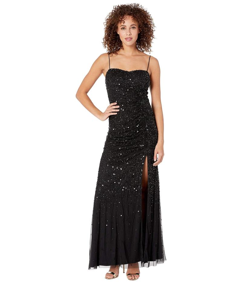 アドリアナ パペル レディース ワンピース トップス Beaded Tank Shirred Evening Gown Black