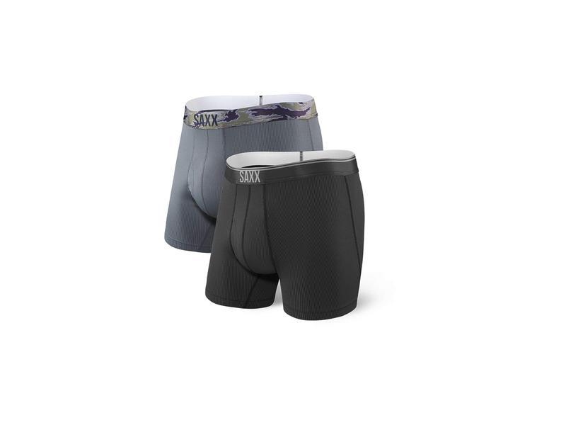 サックスアンダーウェアー メンズ ボクサーパンツ アンダーウェア Quest Boxer Brief Fly 2-Pack Black/Dark Charcoal
