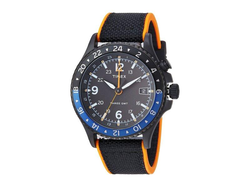 タイメックス メンズ 腕時計 アクセサリー Allied Three GMT Black/Orange