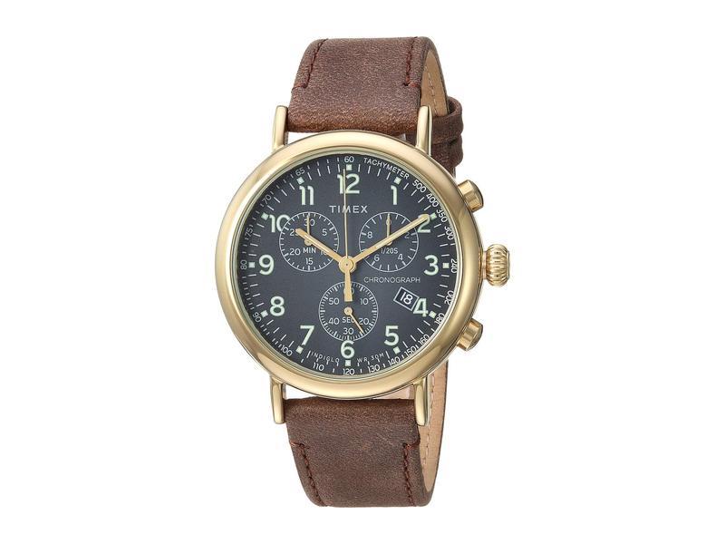 タイメックス メンズ 腕時計 アクセサリー 41 mm Standard Chronograph Leather Strap Black/Brown