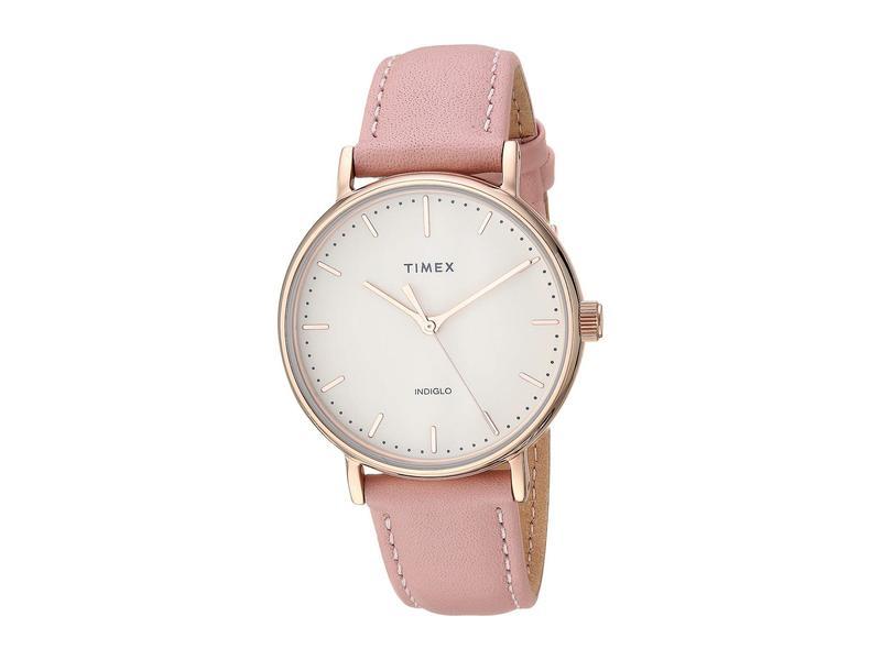 タイメックス レディース 腕時計 アクセサリー 37 mm Fairfield Leather Strap Cream/Pink