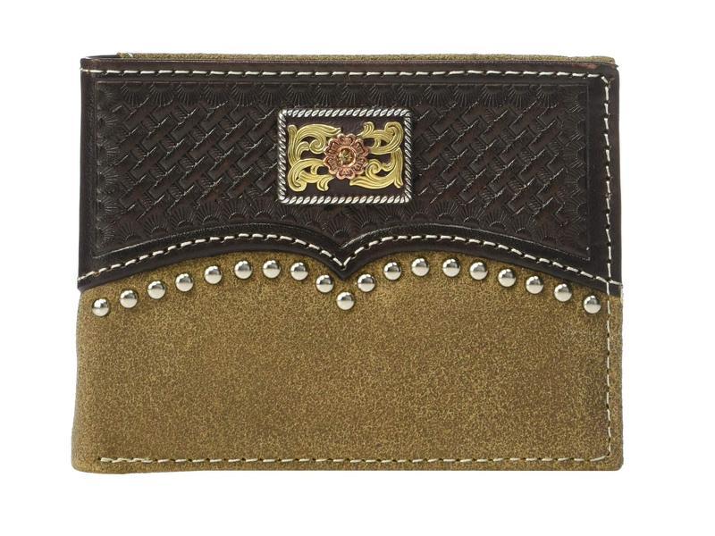 アリアト メンズ 財布 アクセサリー Overlay w/ Tri-Tone Concho Bifold Wallet w/ Removable Passcase Brown