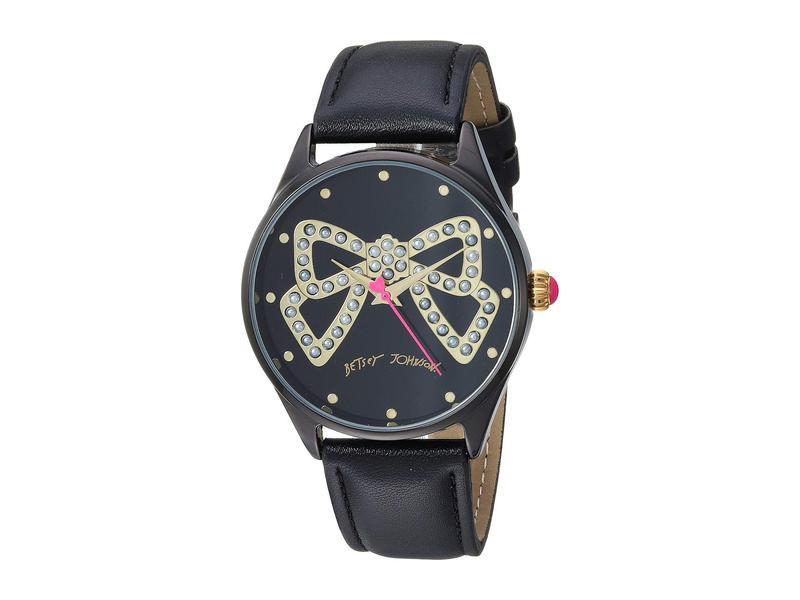 ベッツィジョンソン レディース 腕時計 アクセサリー Pearl Bow Dial Motif & Strap Watch Black