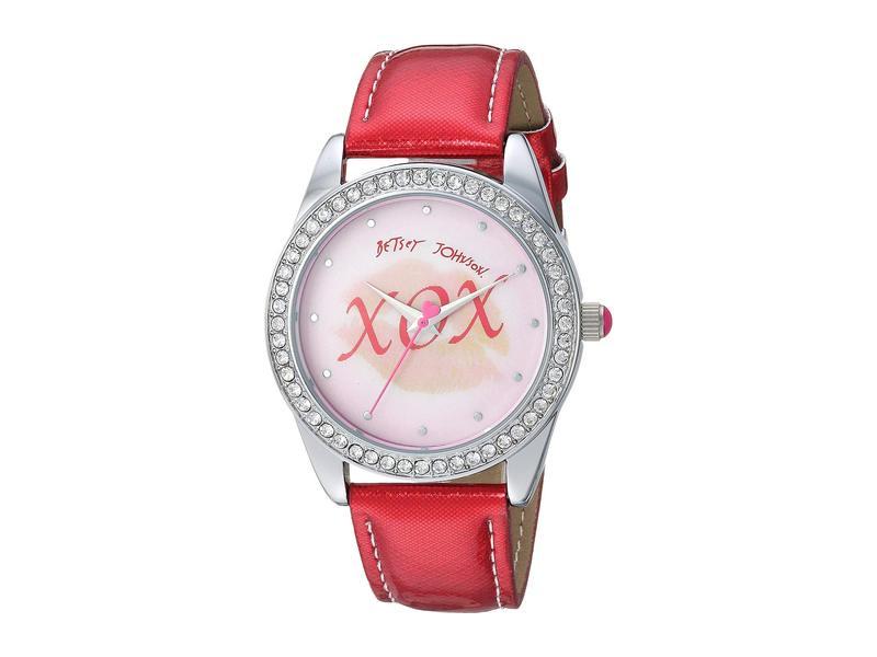 ベッツィジョンソン レディース 腕時計 アクセサリー Lips Motif Lenticular Dial & Glitter Strap Watch Red/Silver