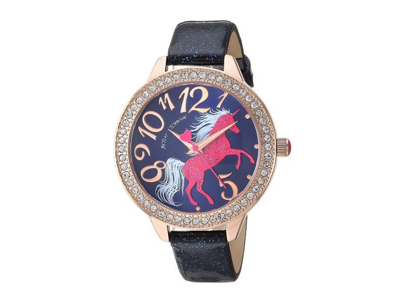ベッツィジョンソン レディース 腕時計 アクセサリー Unicorn Motif Dial & Glitter Strap Watch Blue/Rose Gold