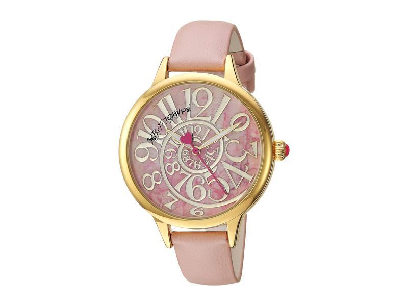 ベッツィジョンソン レディース 腕時計 アクセサリー Optical Swirl Marble Dial & Strap Watch Pink/Gold