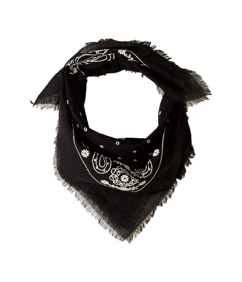 エコーデザイン レディース マフラー・ストール・スカーフ アクセサリー Embroidered Cotton Bandana Scarf Black