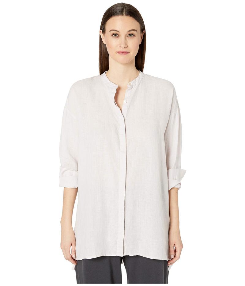 エイリーンフィッシャー レディース シャツ トップス Organic Handkerchief Linen Mandarin Collar Boxy Shirt Ceramic
