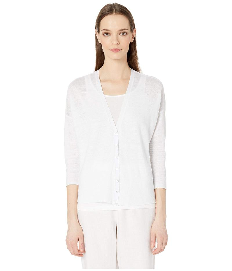 エイリーンフィッシャー レディース ニット・セーター アウター Organic Linen Knit V-Neck 3/4 Sleeve Short Cardigan White