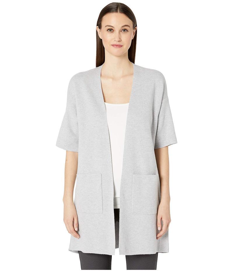 エイリーンフィッシャー レディース ニット・セーター アウター Fine Organic Cotton Silk Simple Elbow Sleeve Long Cardigan Dark Pearl