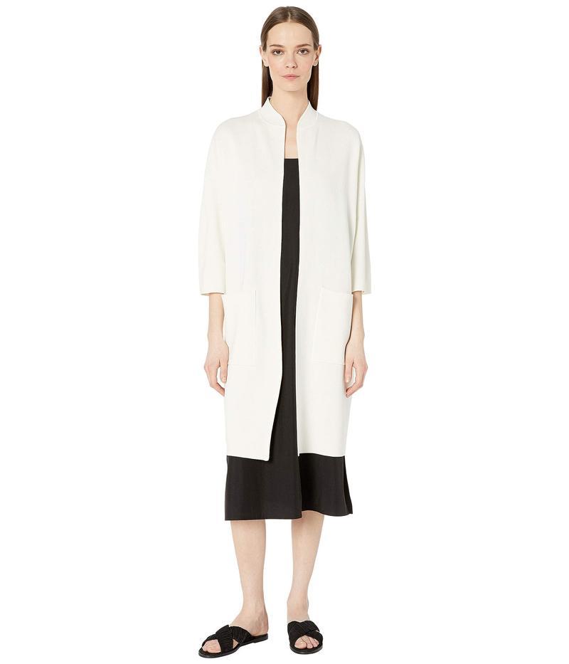 エイリーンフィッシャー レディース コート アウター Silk & Organic Cotton Interlock High Collar 3/4 Sleeve Long Jacket Ivory