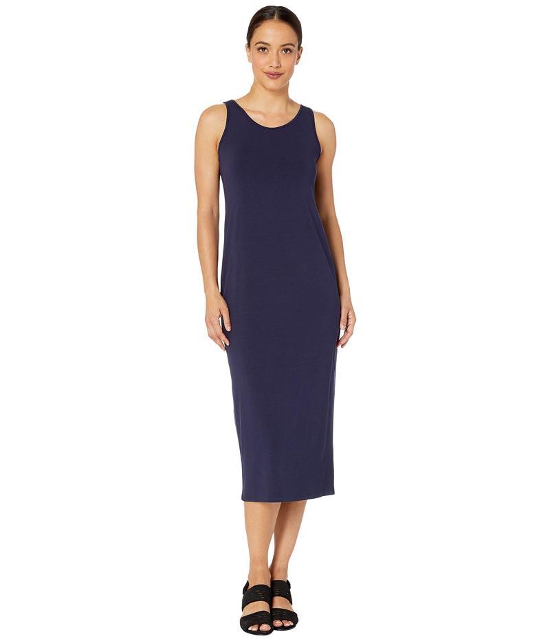 エイリーンフィッシャー レディース ワンピース トップス Petite Viscose Jersey Scoop Neck Dress Midnight