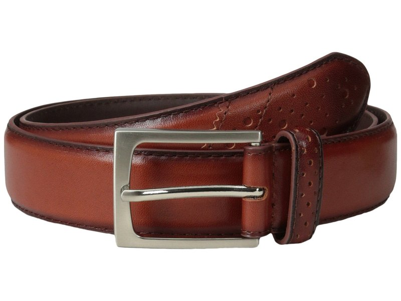 フローシャイム メンズ ベルト アクセサリー Full Grain Leather Belt with Wing Tip Style Tail 32mm Saddle Tan