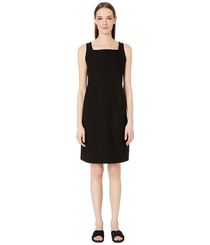 エイリーンフィッシャー レディース ワンピース トップス Washable Stretch Crepe Square Neck Knee Length Dress Black