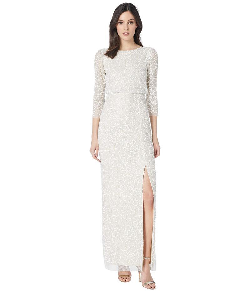 アドリアナ パペル レディース ワンピース トップス Long Beaded Mesh Blouson Dress Ivory