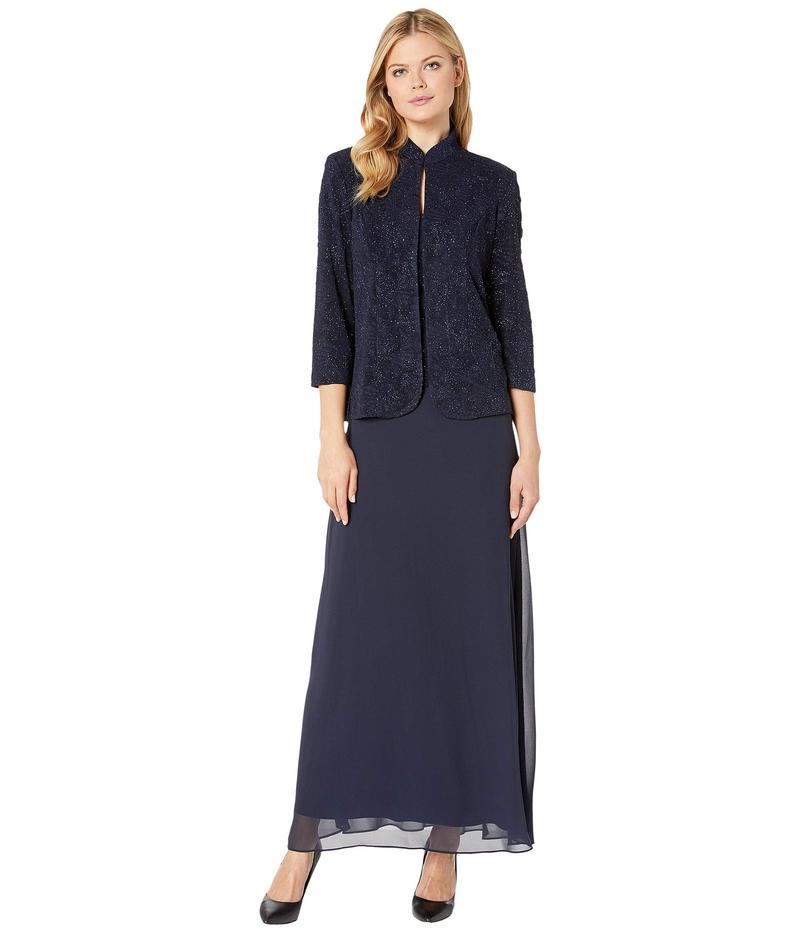 with ワンピース Jacket アレックスイブニングス Dress レディース Navy トップス Long Jacket Collar Knit Jacquard Mandarin