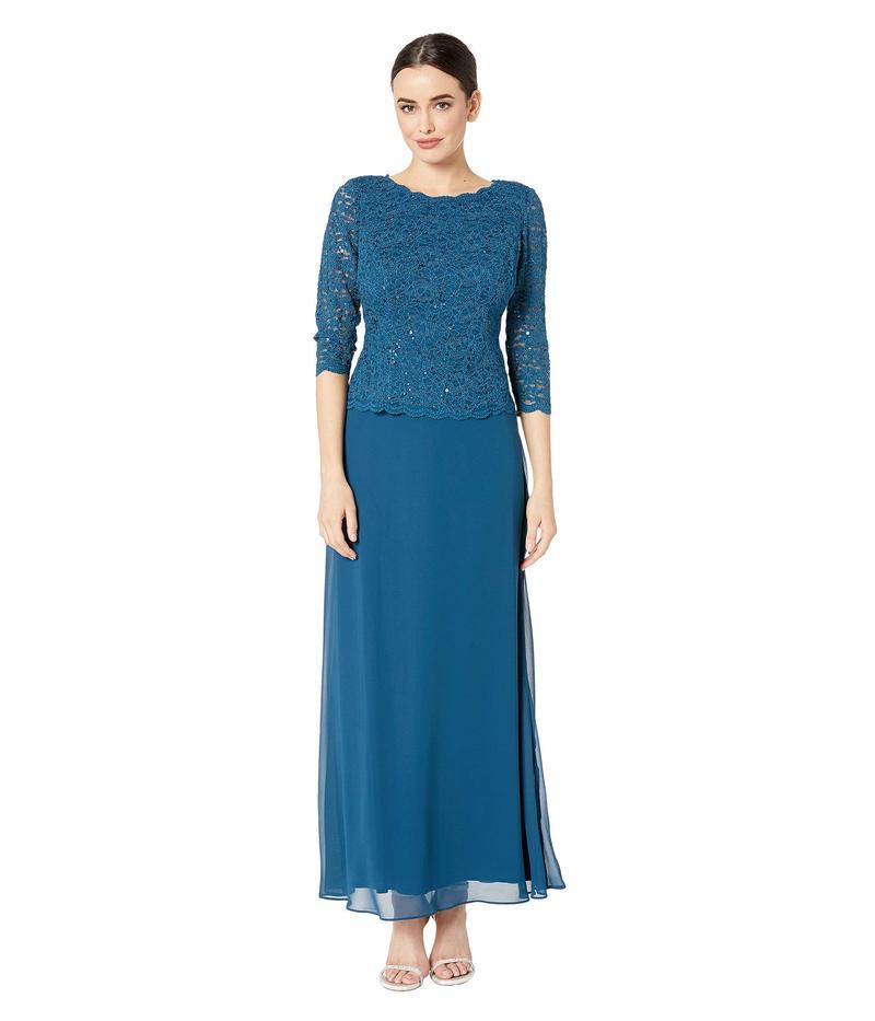 アレックスイブニングス レディース ワンピース トップス Long Sequin Lace Mock Dress Peacock