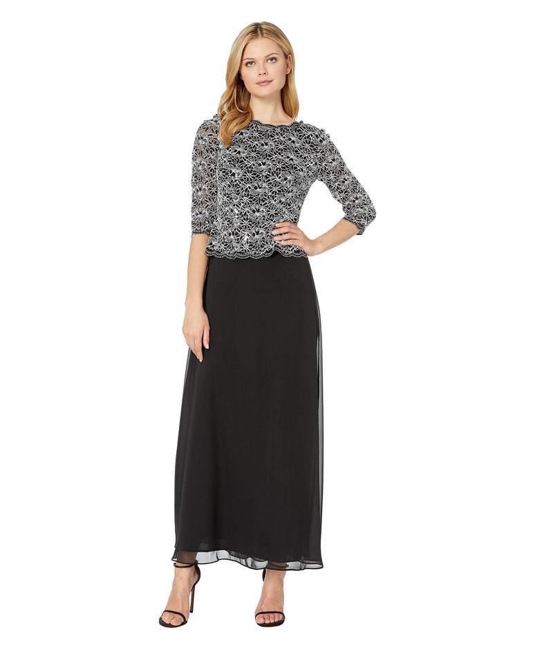 アレックスイブニングス レディース ワンピース トップス Long Sequin Lace Mock Dress Black/White