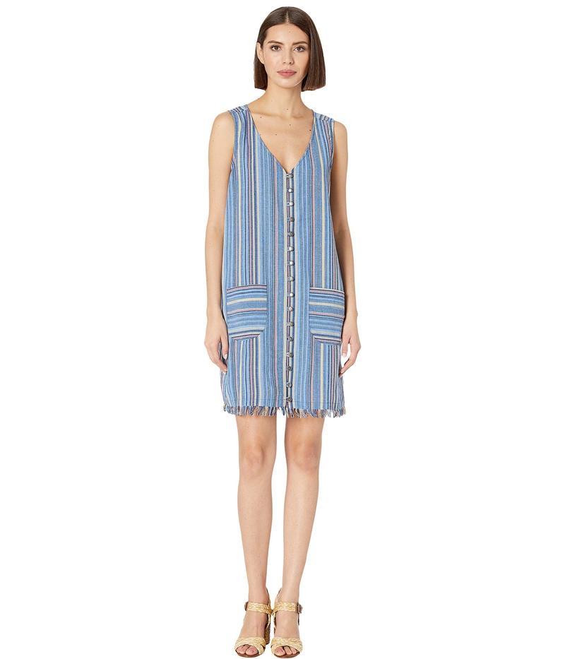 モッドドック レディース ワンピース トップス Button Front Tank Dress in Linen Stripe Blue