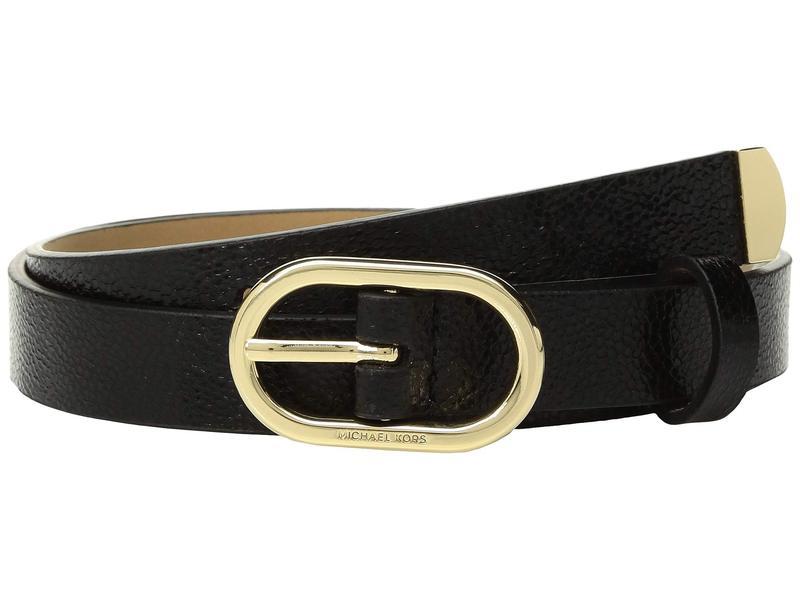 マイケルコース レディース ベルト アクセサリー 20 mm (3/4) Metallic Belt Black/Light Polished Gold