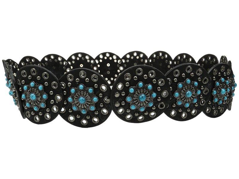 エムエフウエスターン レディース ベルト アクセサリー Nocona Wide Concho Disk Belt Black/Turquoise