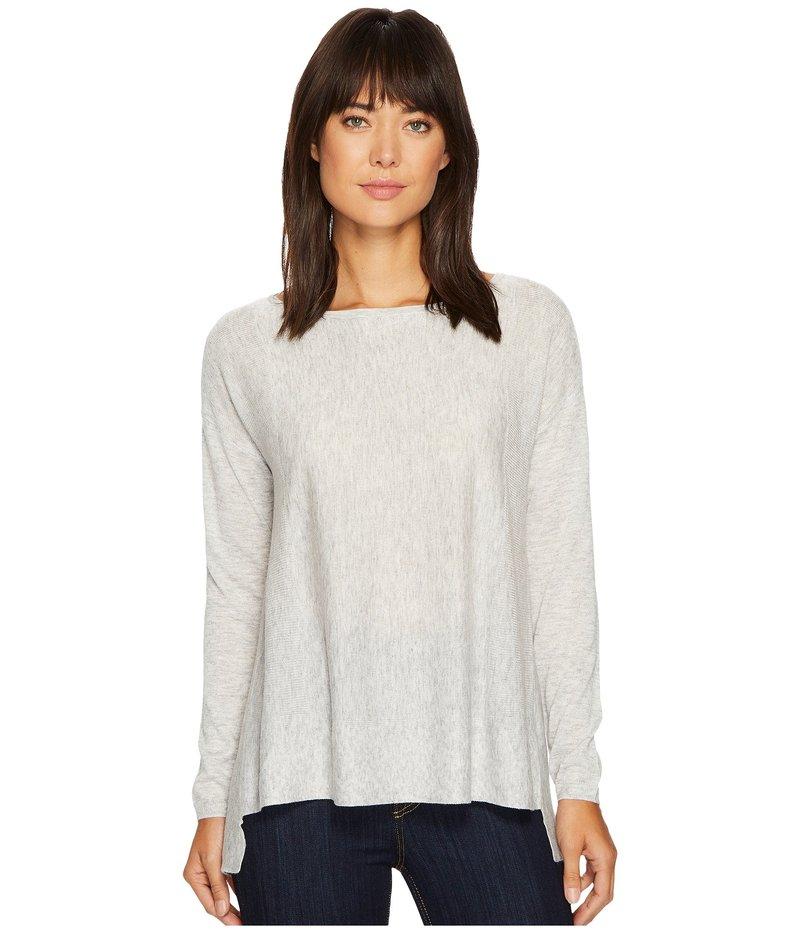 エヌワイディージェイ レディース ニット・セーター アウター Boat Neck Sweater w/ Split Back Light Heather Grey